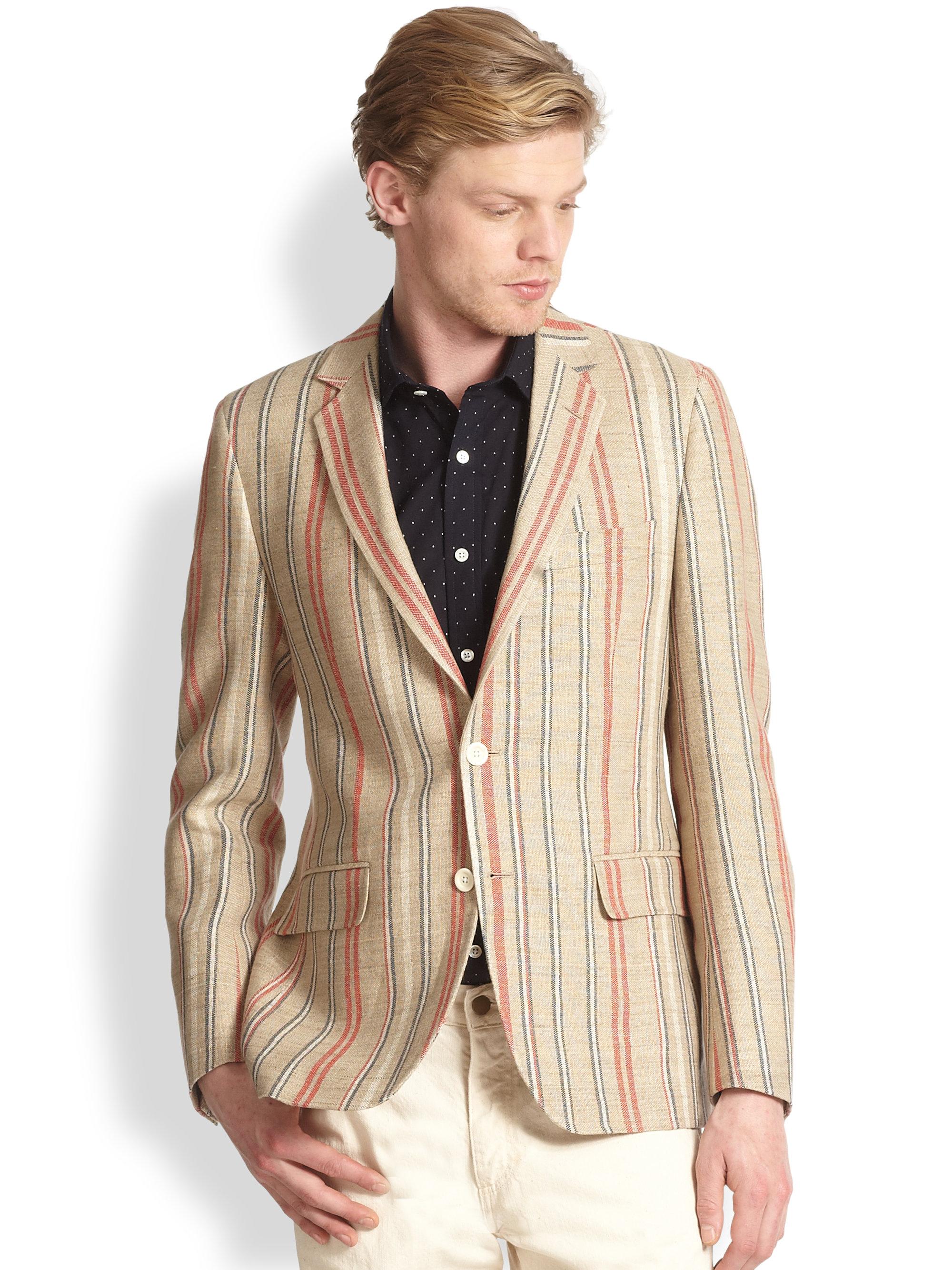 Lyst Billy Reid Essex Linencotton Striped Blazer For Men
