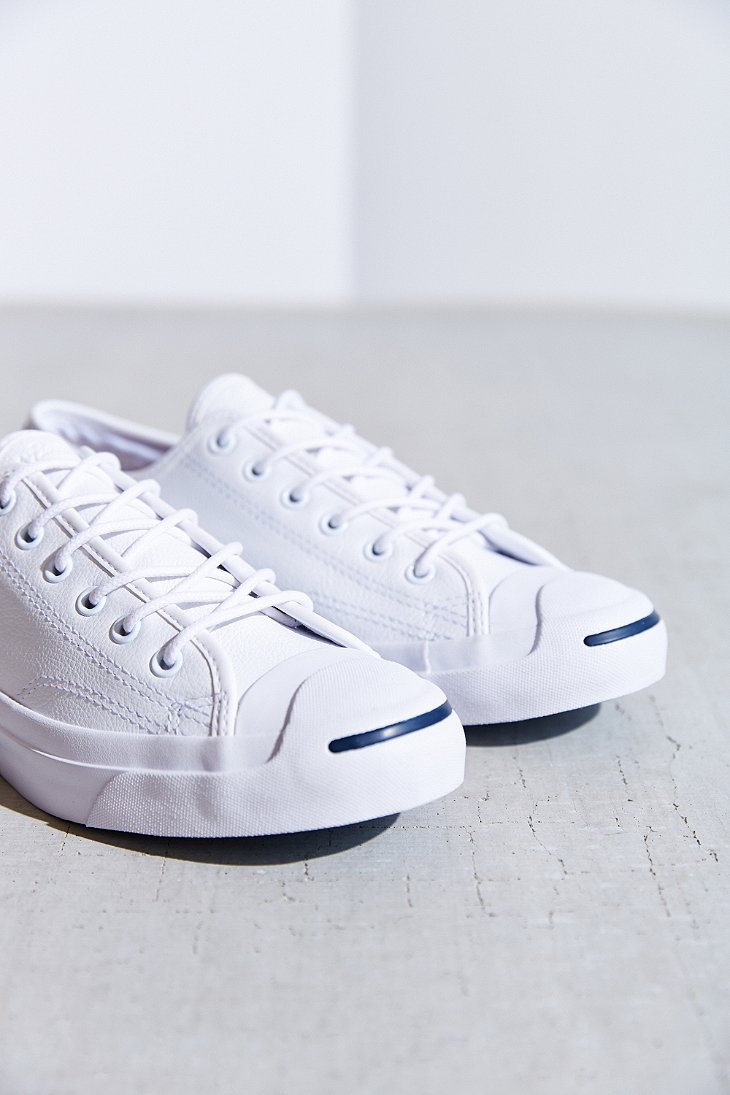 6c3481d6fb9c ... shop lyst converse jack purcell tumbled leather low top sneaker in  white cf3d4 2b1d7