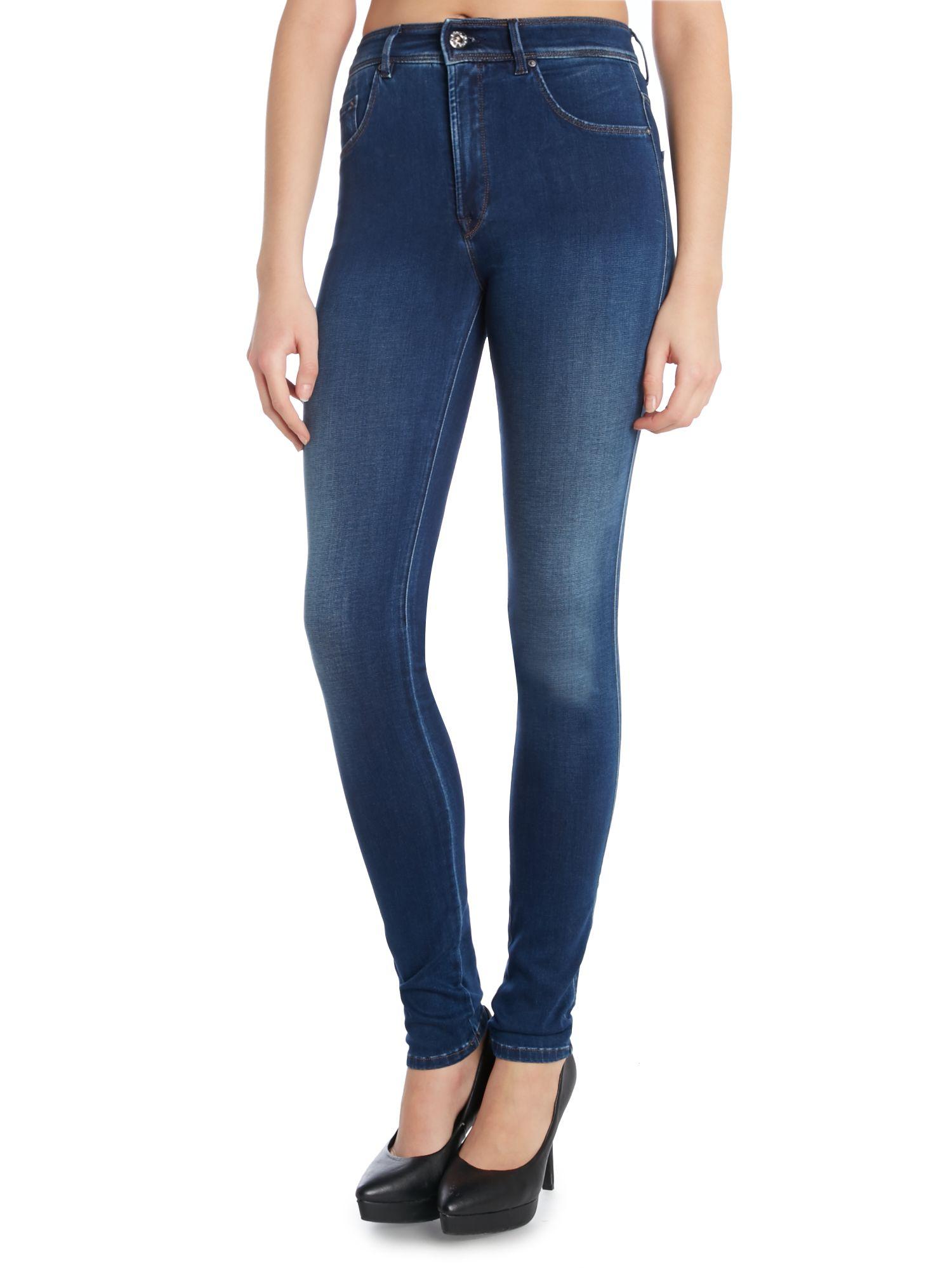lyst salsa high waist skinny carrie jean in mid wash in blue. Black Bedroom Furniture Sets. Home Design Ideas