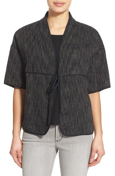 Lyst eileen fisher tie front boxy cotton jacket in black for Eileen fisher organic cotton t shirt
