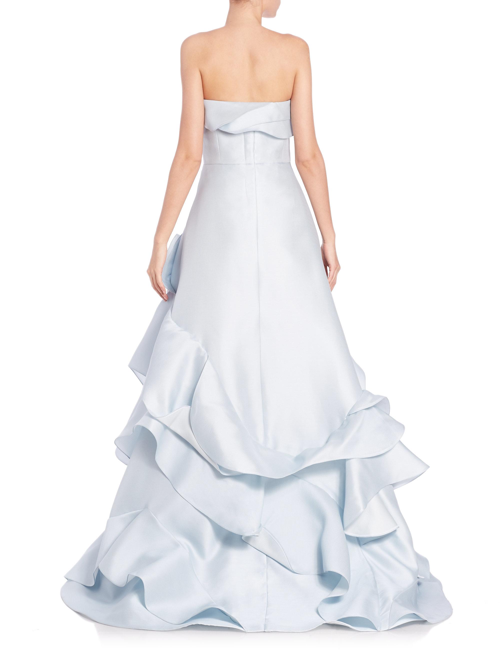Lyst Carolina Herrera Strapless Ruffled Ball Gown In Blue