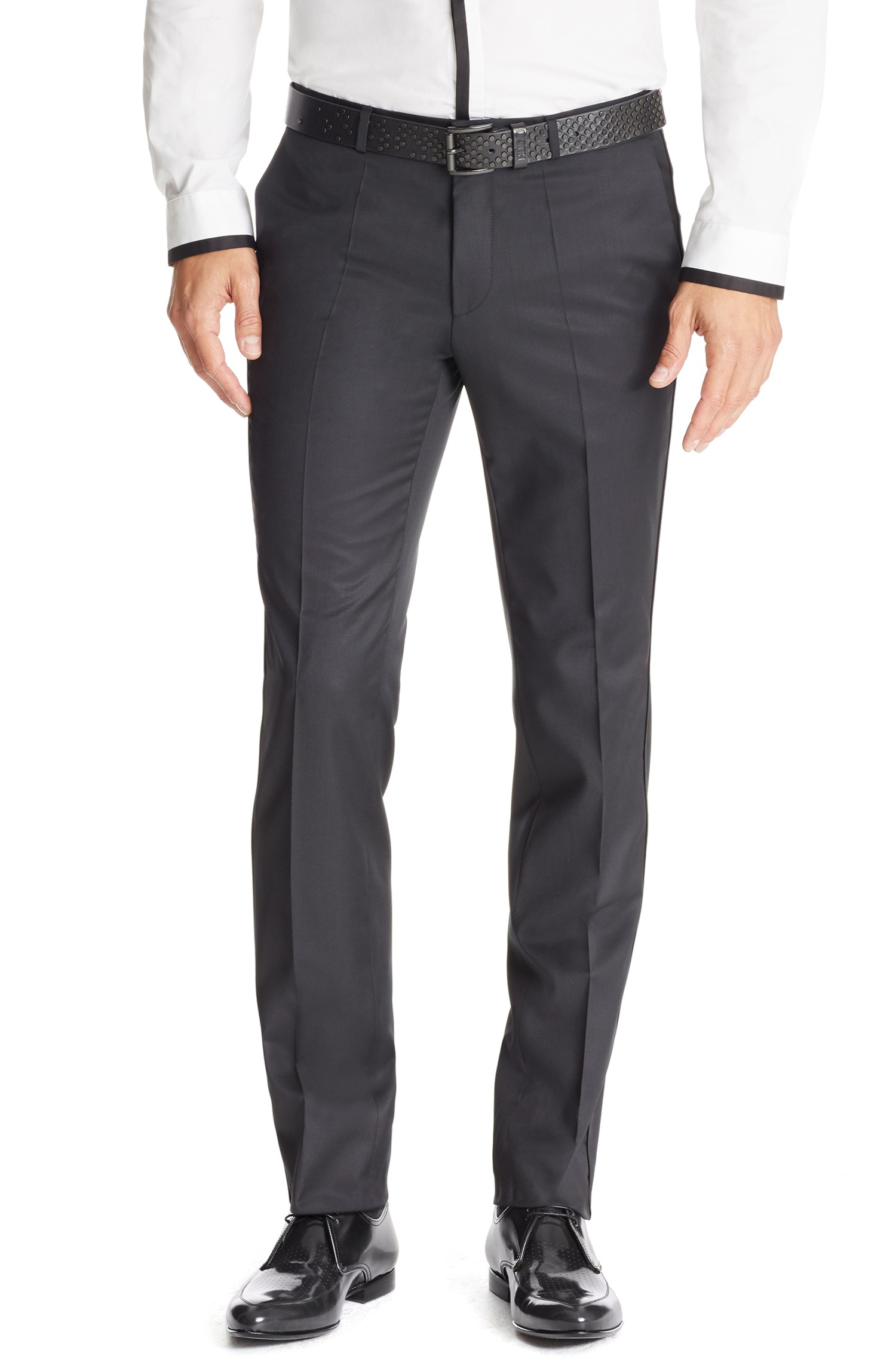 Extra-slim-fit trousers in pigment-dyed virgin wool HUGO BOSS mcrhhrNvFL