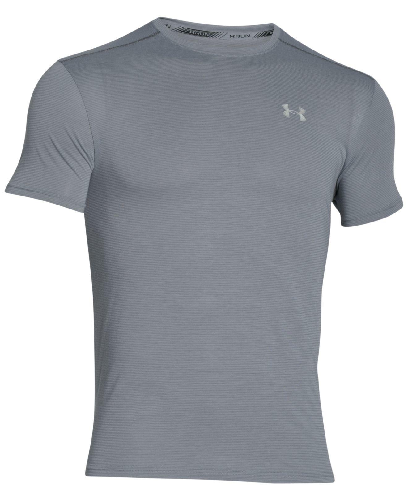 Under armour men 39 s streaker running t shirt in gray for for Gray under armour shirt