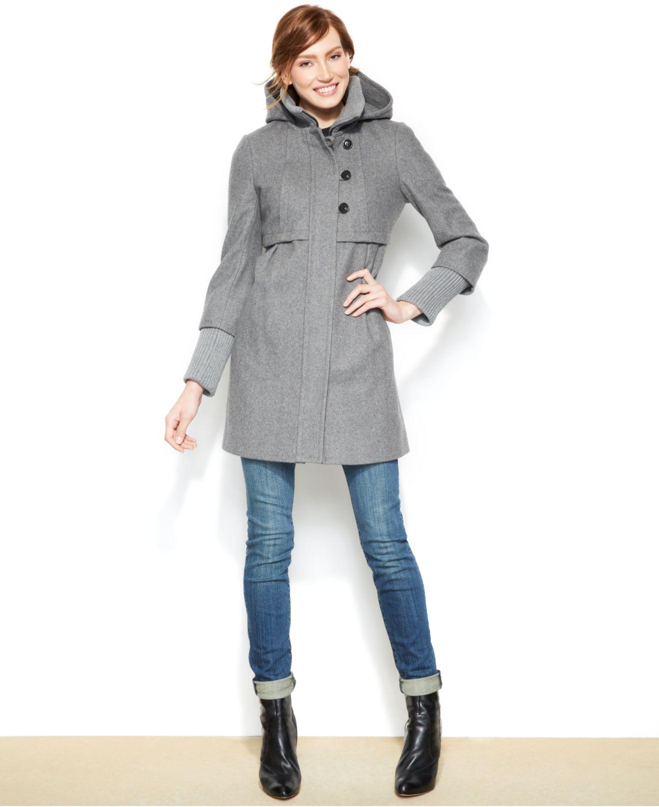 Dkny Hooded Wool Blend Babydoll Coat In Gray Lyst