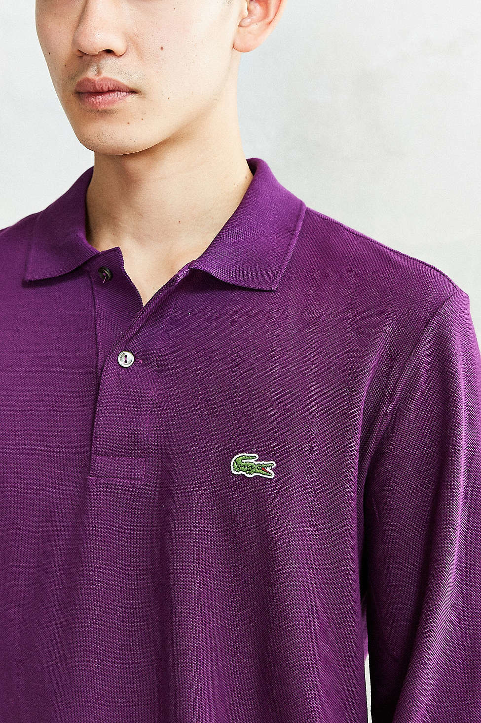 Lacoste long sleeve polo shirt in purple for men lyst for Long sleeve purple polo shirt