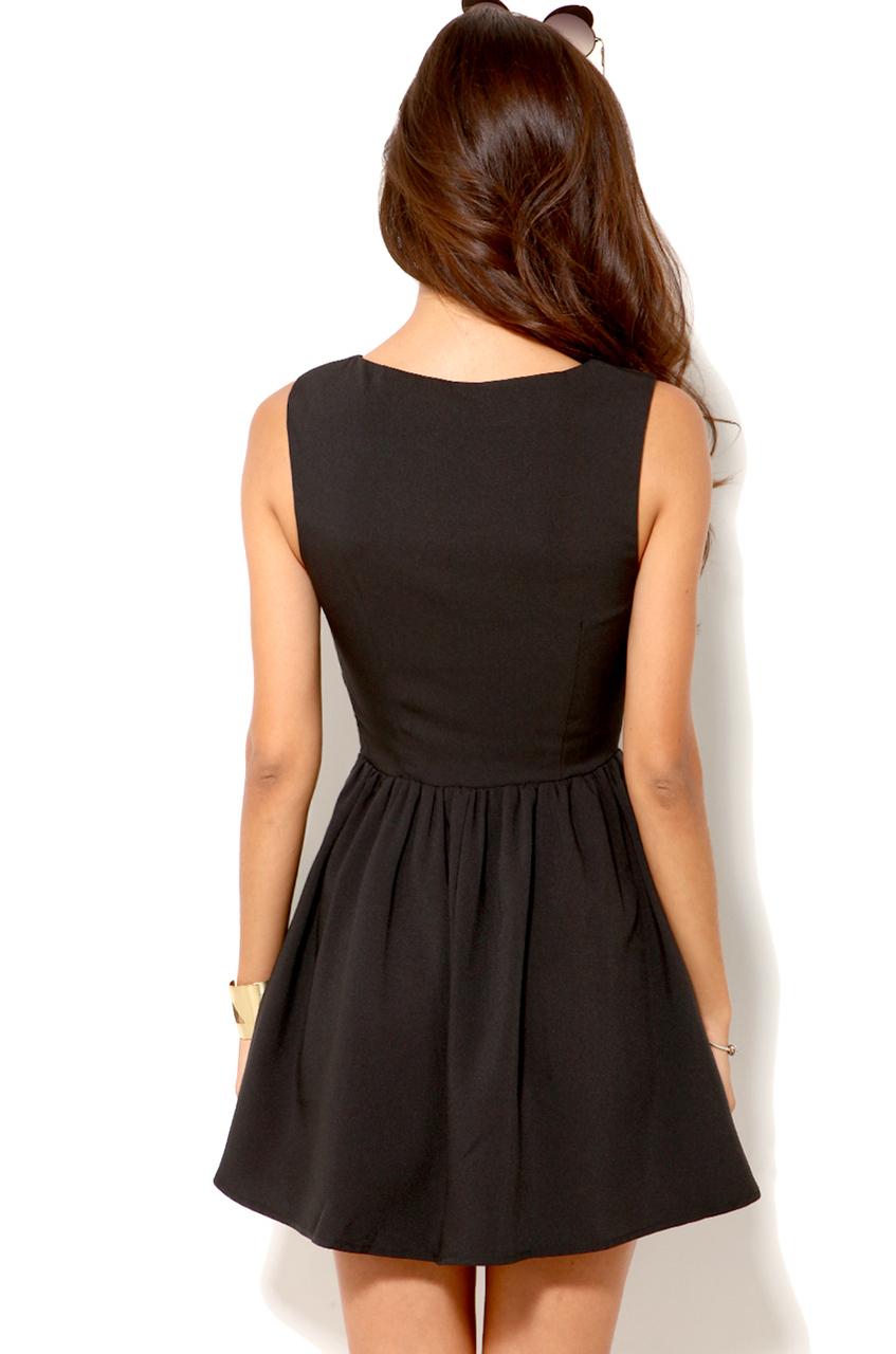Akira Deep Cut Sleeveless Mini Dress In Black In Black Lyst