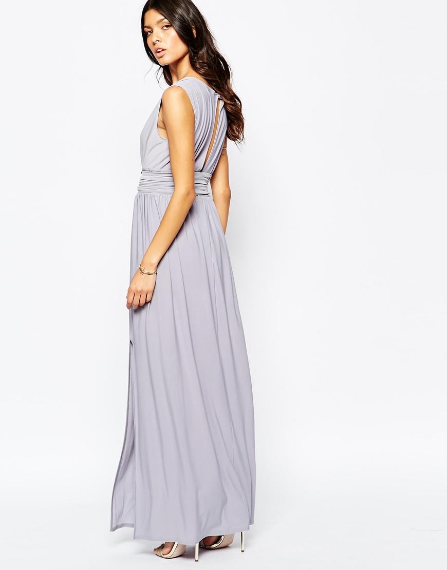 plunge neck maxi dress with wrap belt in purple lyst