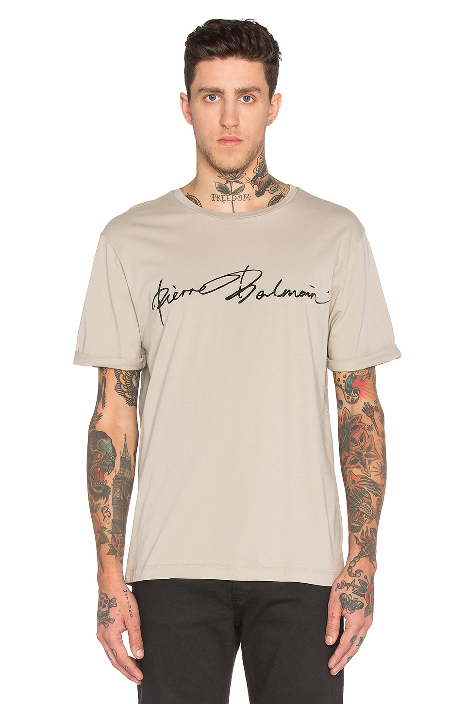 balmain t shirt in natural for men lyst. Black Bedroom Furniture Sets. Home Design Ideas