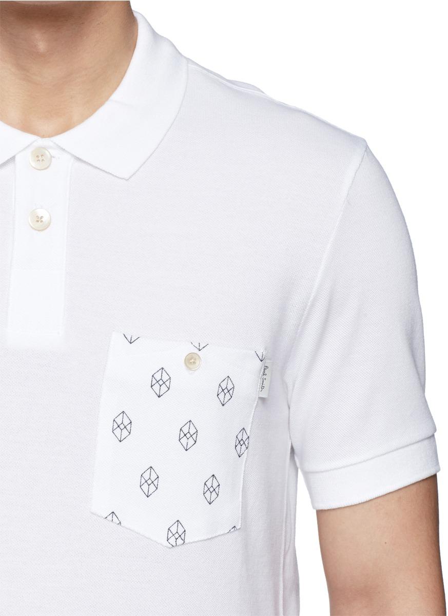 Lyst paul smith cube print chest pocket polo shirt in for Men s polo shirts with chest pocket