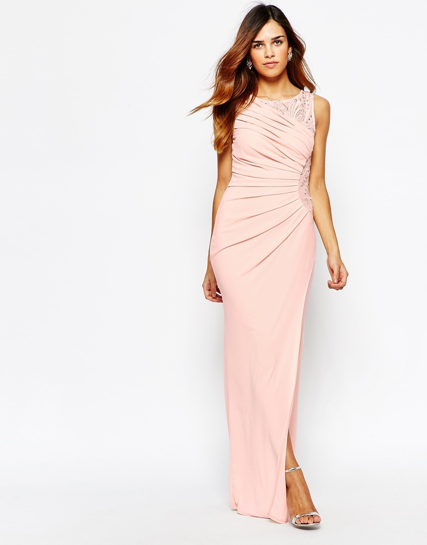 Lyst - Lipsy Embellished Maxi Dress With Ruched Detail in Pink