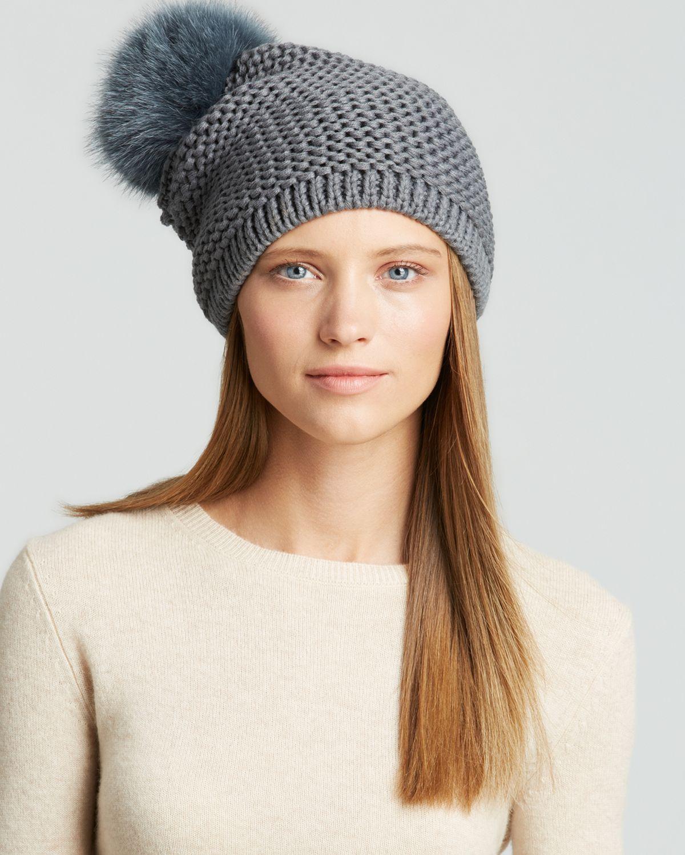 26576a249 Kyi Kyi Gray Fox Fur Pom-Pom Slouchy Knit Hat