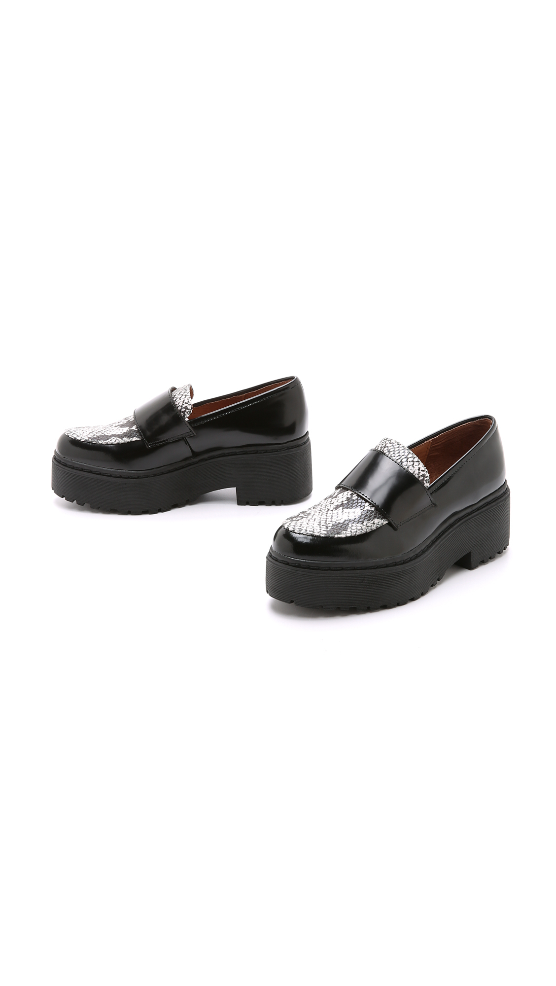 Jeffrey Campbell Wally Platform Loafers Black Grey In