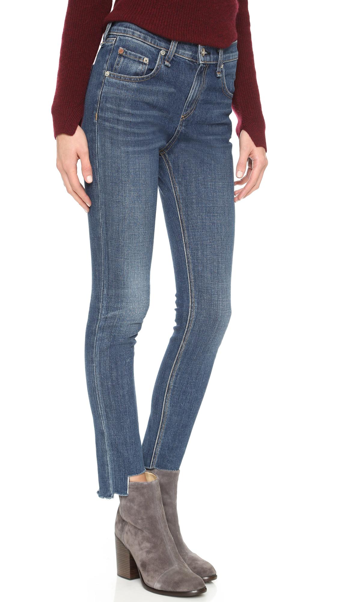 46d58ca84d5 Rag & Bone 10 Inch Destroyed Skinny Jeans - Hampton in Blue - Lyst