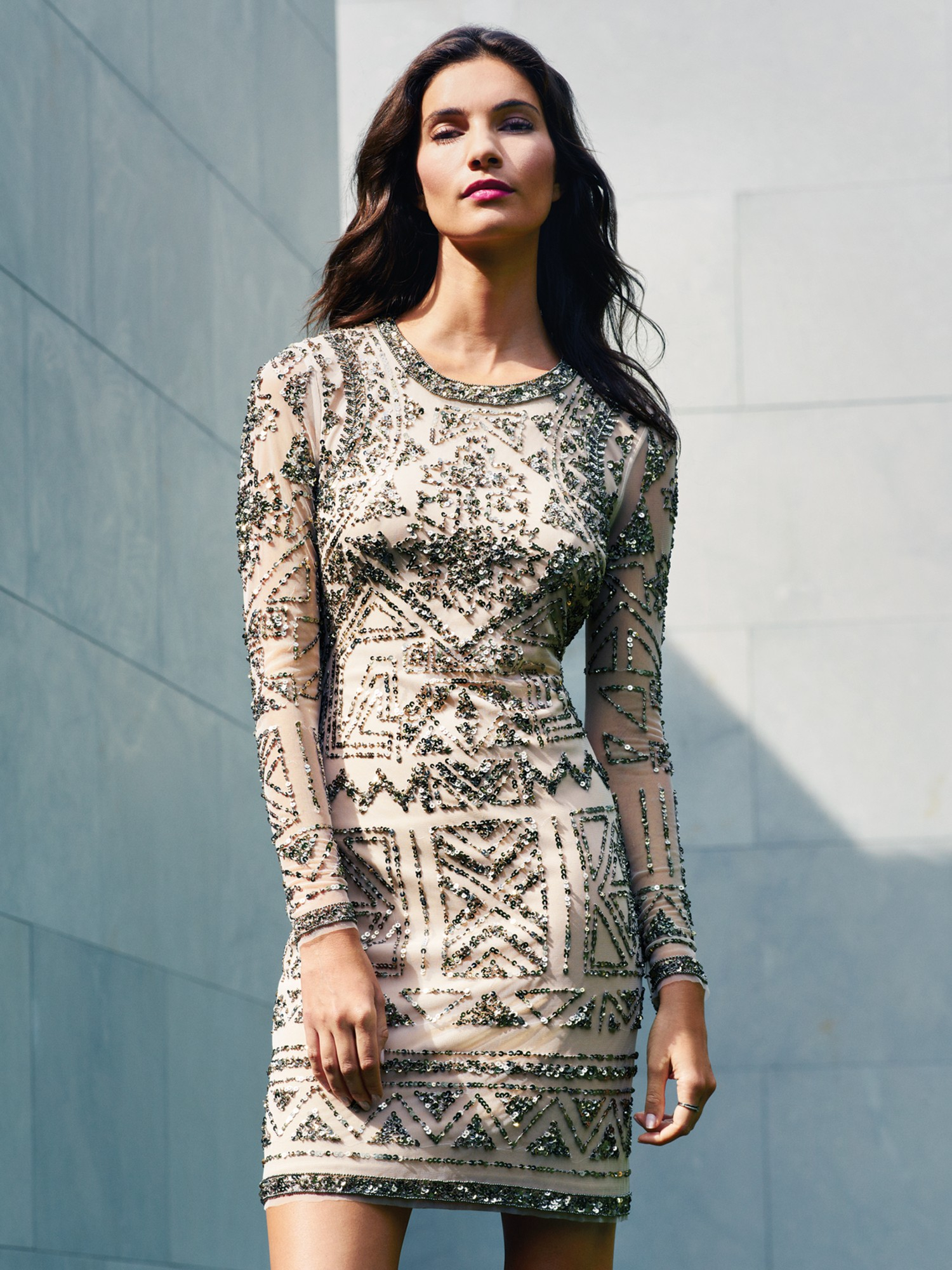 Luxury Adrianna Papell Long Sleeve Beaded Gown Pictures - Best ...