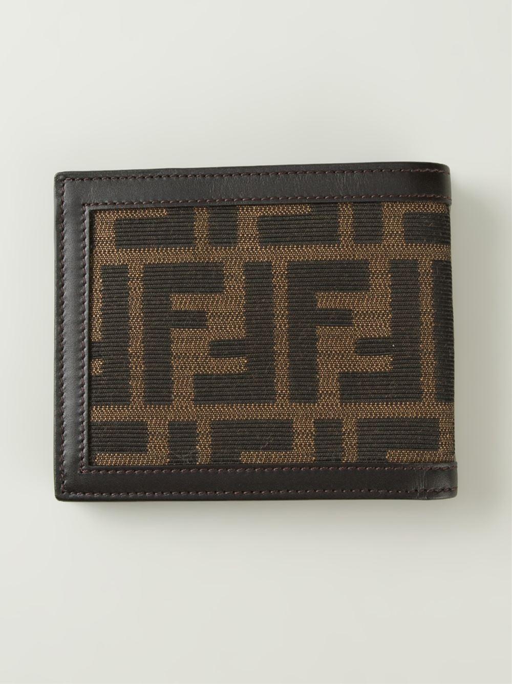 fendi ff logo billfold wallet in brown for men