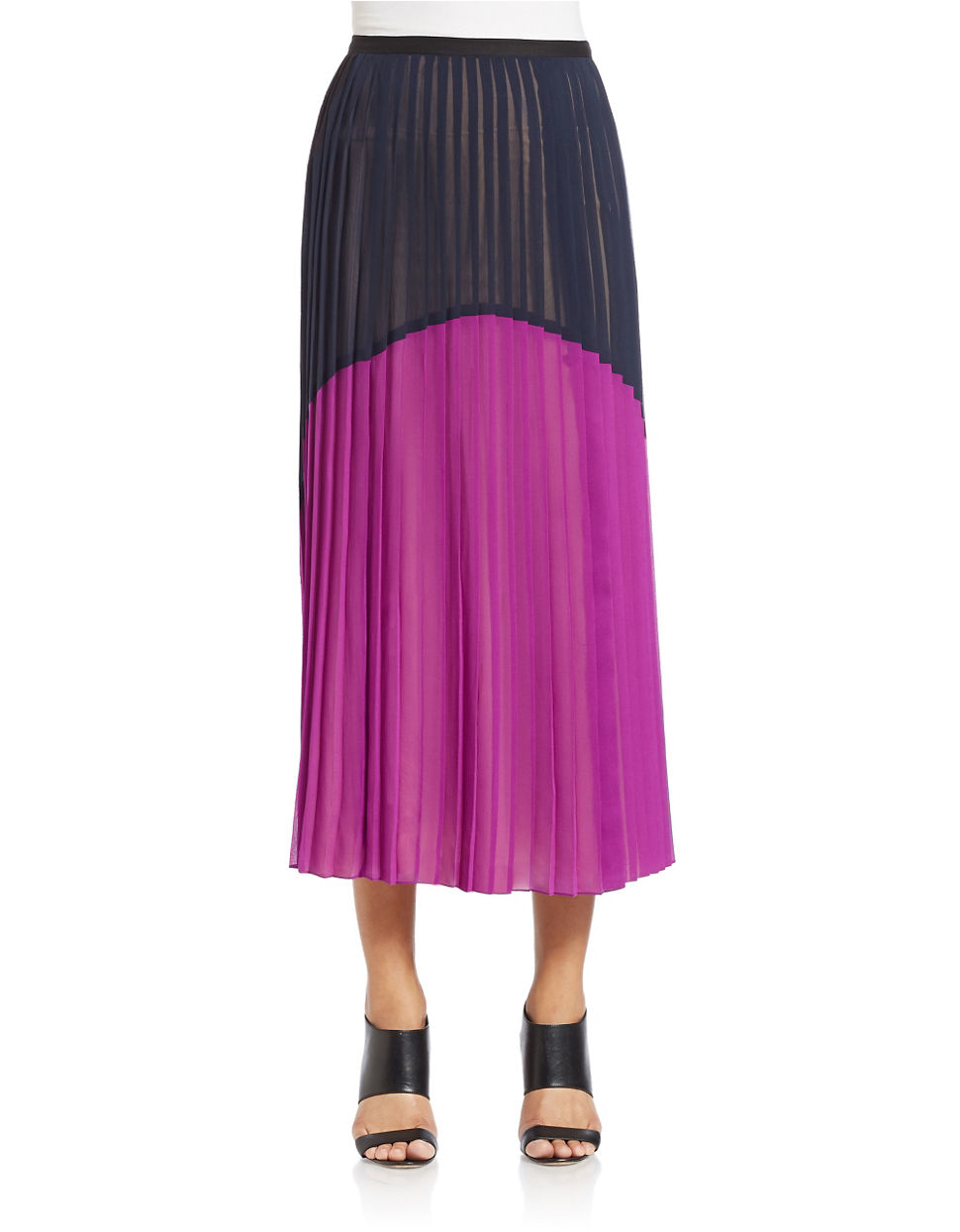 dkny colorblocked pleated maxi skirt in purple lyst