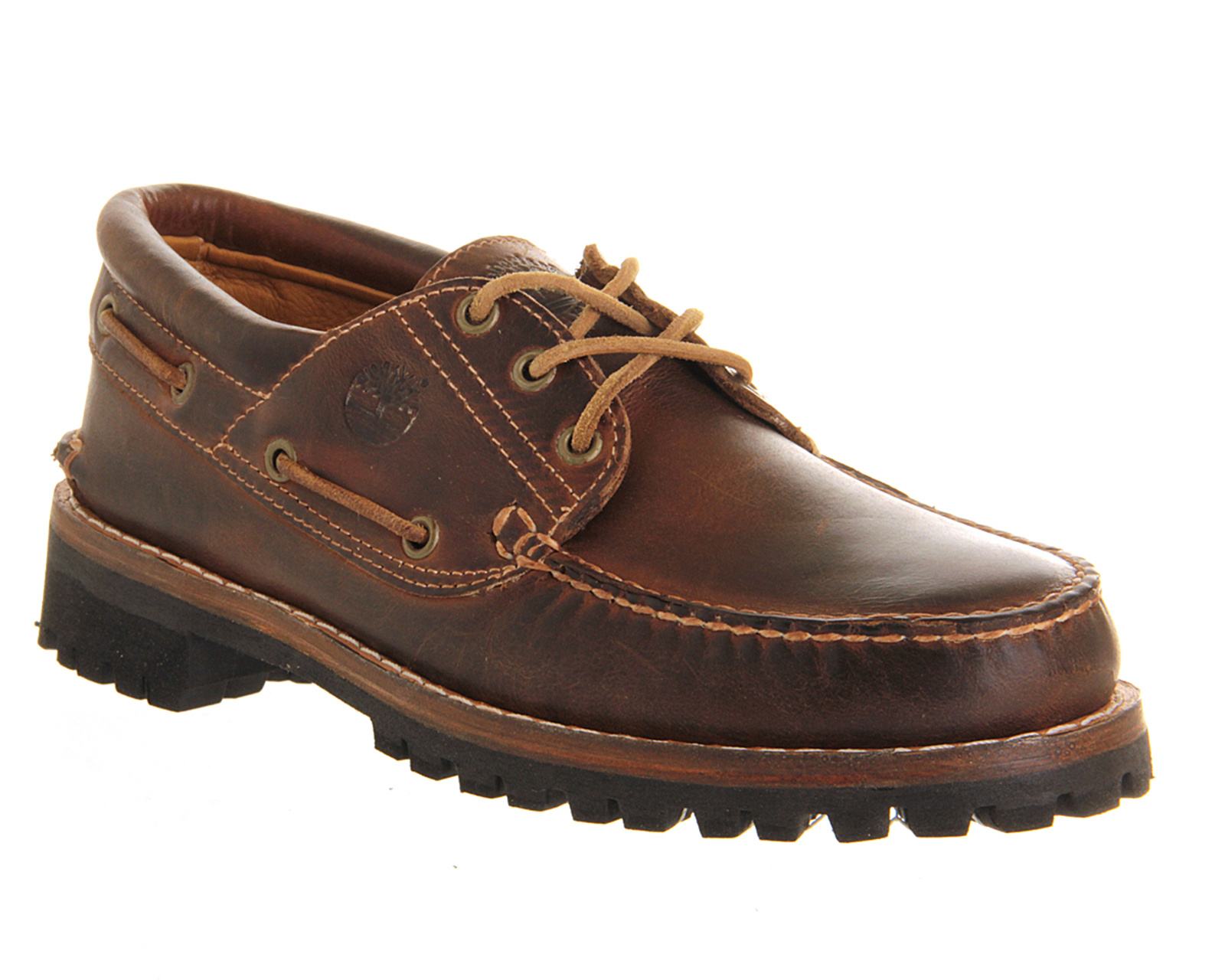 timberland heritage 3 eye boat shoe in brown for lyst