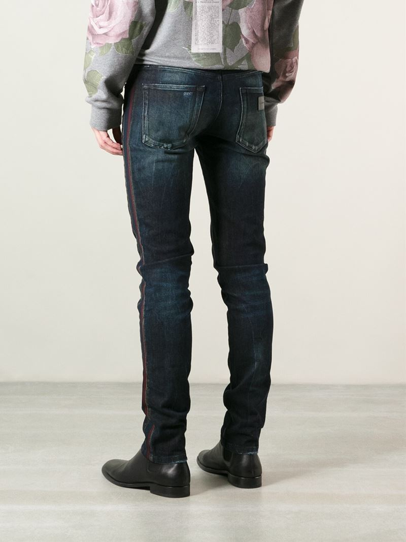 Lyst Dolce Amp Gabbana Red Side Stripe Skinny Jeans In