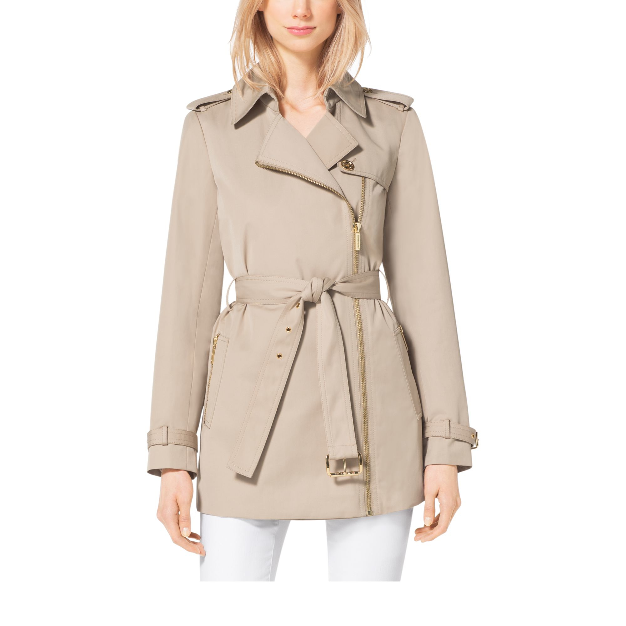 new appearance best sale find lowest price Michael Kors Natural Asymmetrical Zip-front Trench Coat