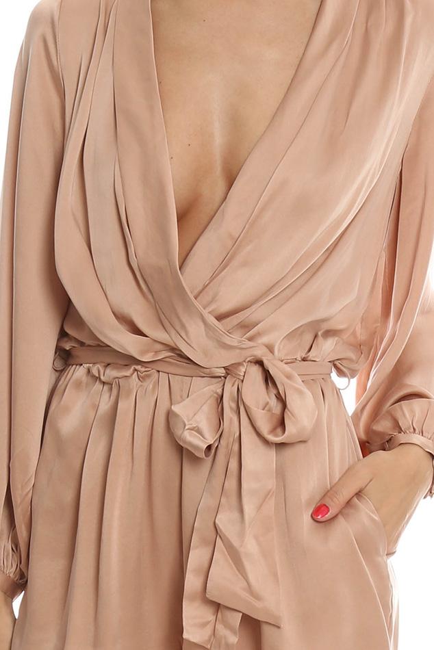 b6e0b7aadb4 Lyst - Zimmermann Sueded Silk Wrap Playsuit in Pink