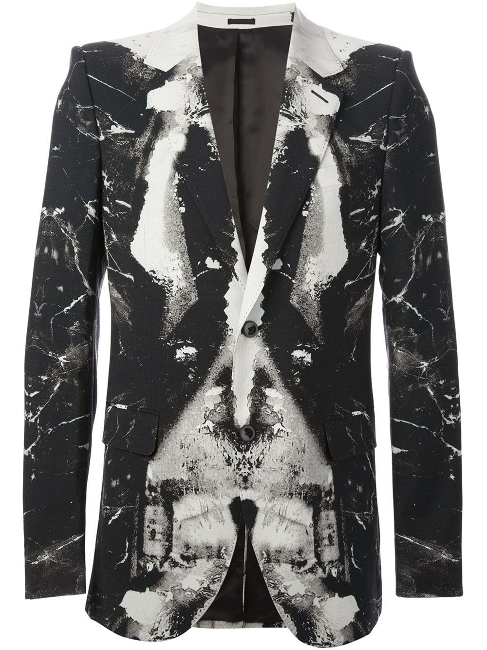 Alexander mcqueen Graphic Print Blazer in Black for Men | Lyst