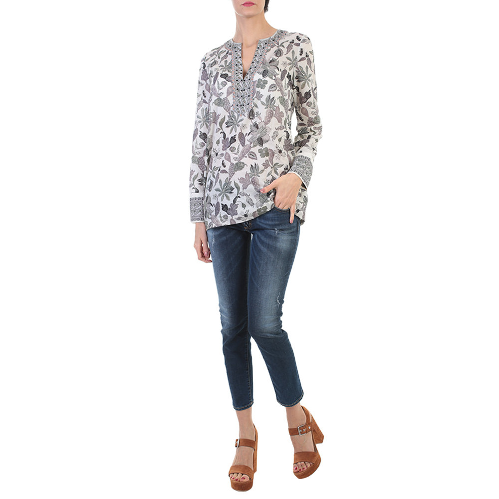 Lyst tory burch grey and white floral printed cotton for Tory burch fashion island