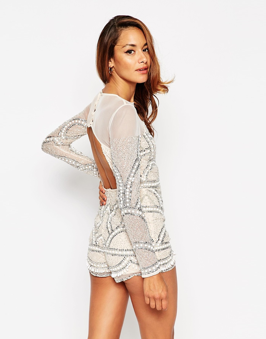 11881f1c011 ASOS - Multicolor Petite Pretty Embellished Playsuit With Scalloped Edge -  Lyst