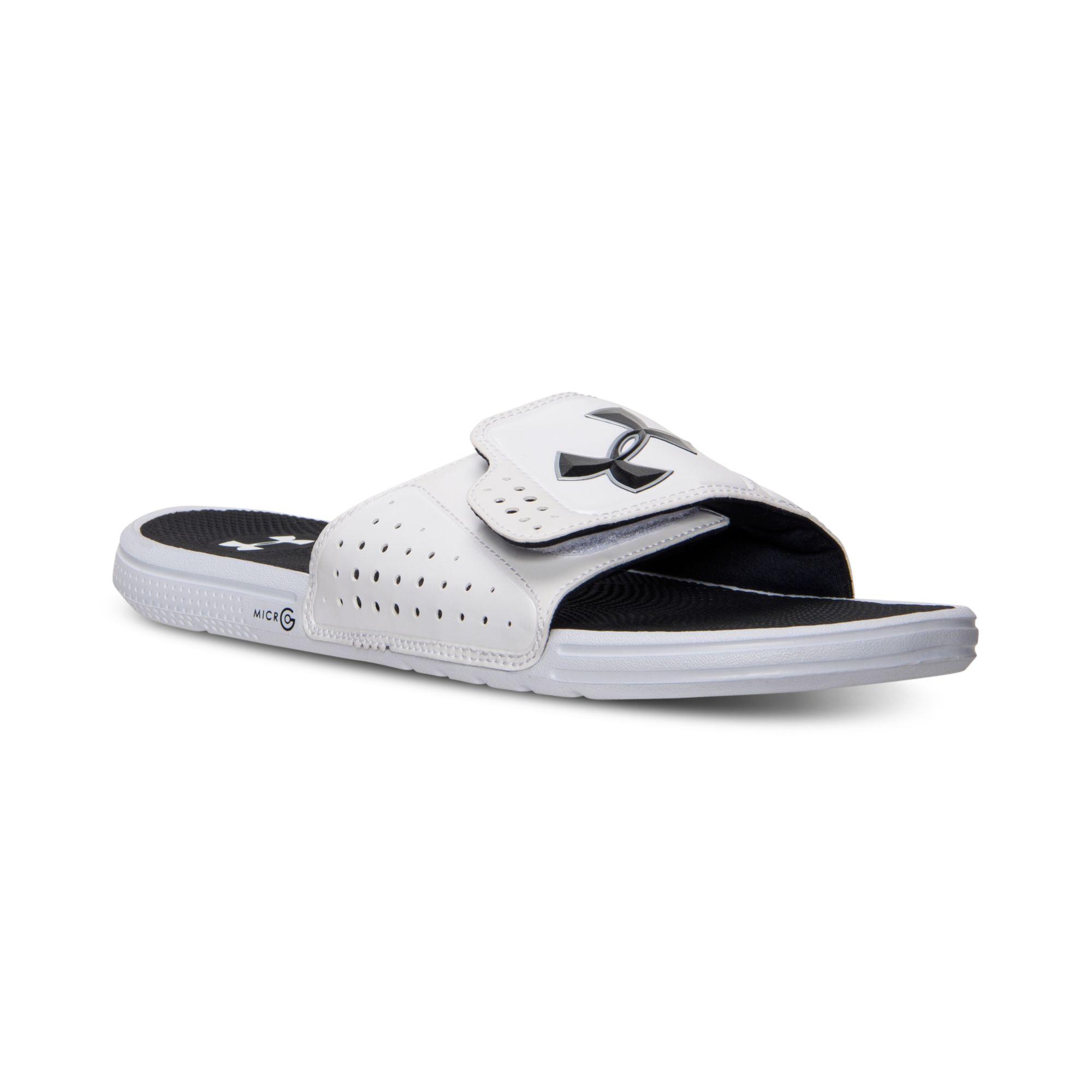 7147d4e330 Under Armour White Mens Micro G Ev Slide Sandals From Finish Line for men