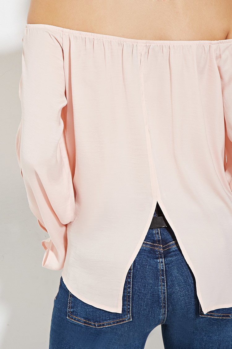 a94607a8257449 Forever 21 Satin Off-the-shoulder Top in Pink - Lyst