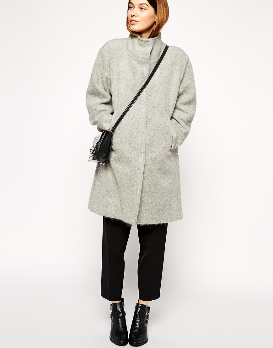 390d554b8918 Lyst - ASOS Oversized Coat With Funnel Neck In Hairy Wool in Gray
