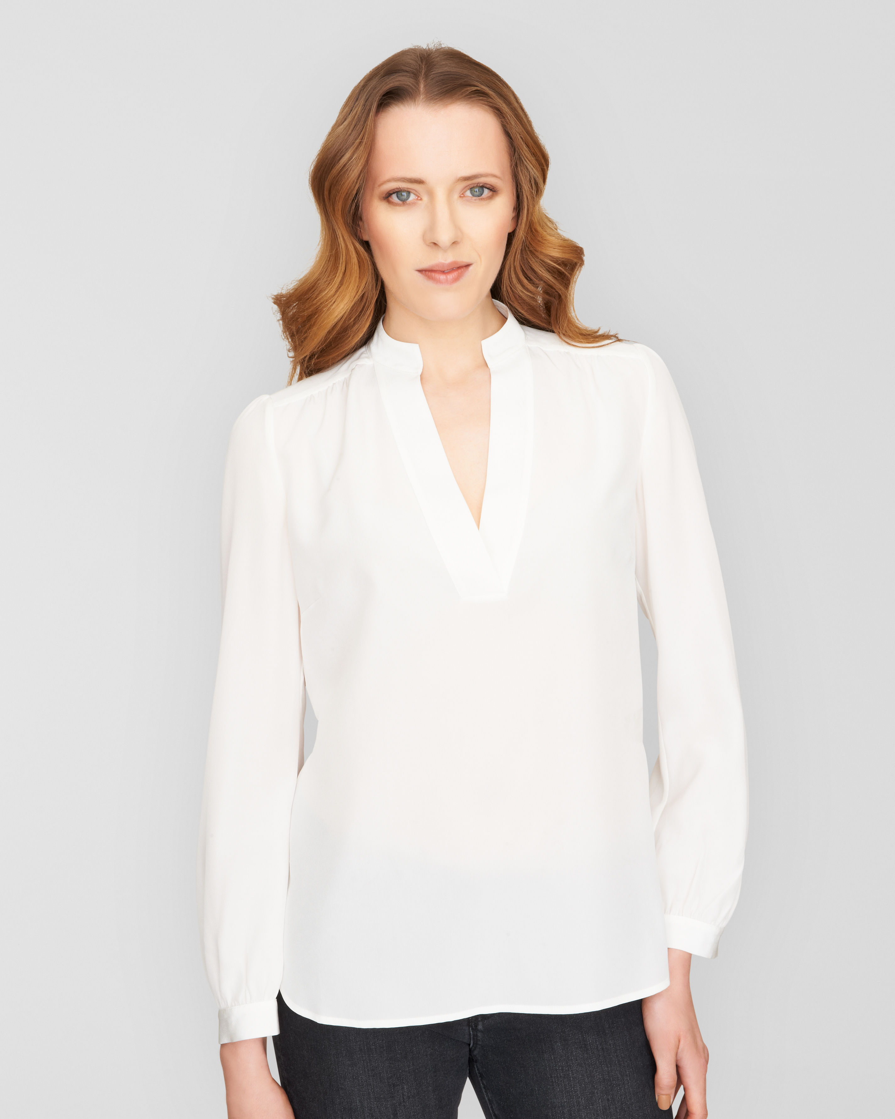 Blouse Stand Neck Designs : Lyst jaeger v neck stand collar blouse in white