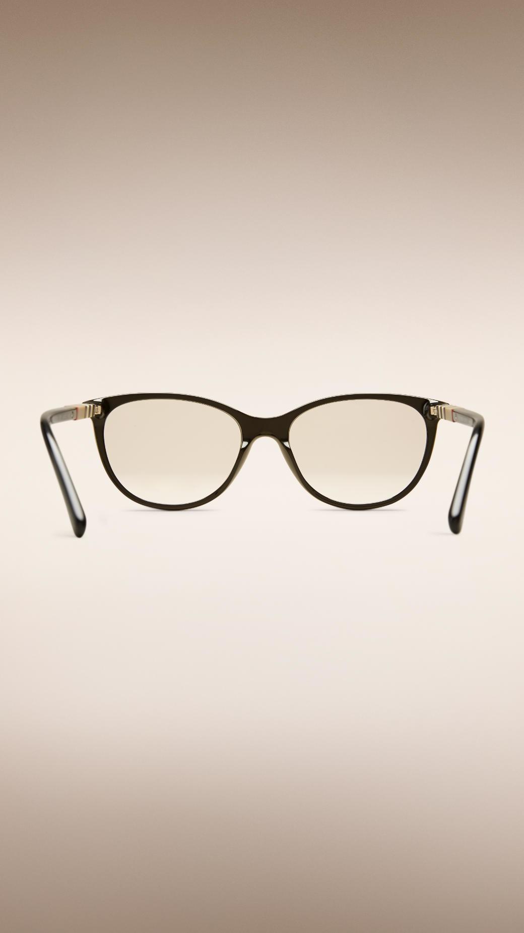 3980643236d Lyst Burberry Check Detail Cat Eye Optical Frames In Black