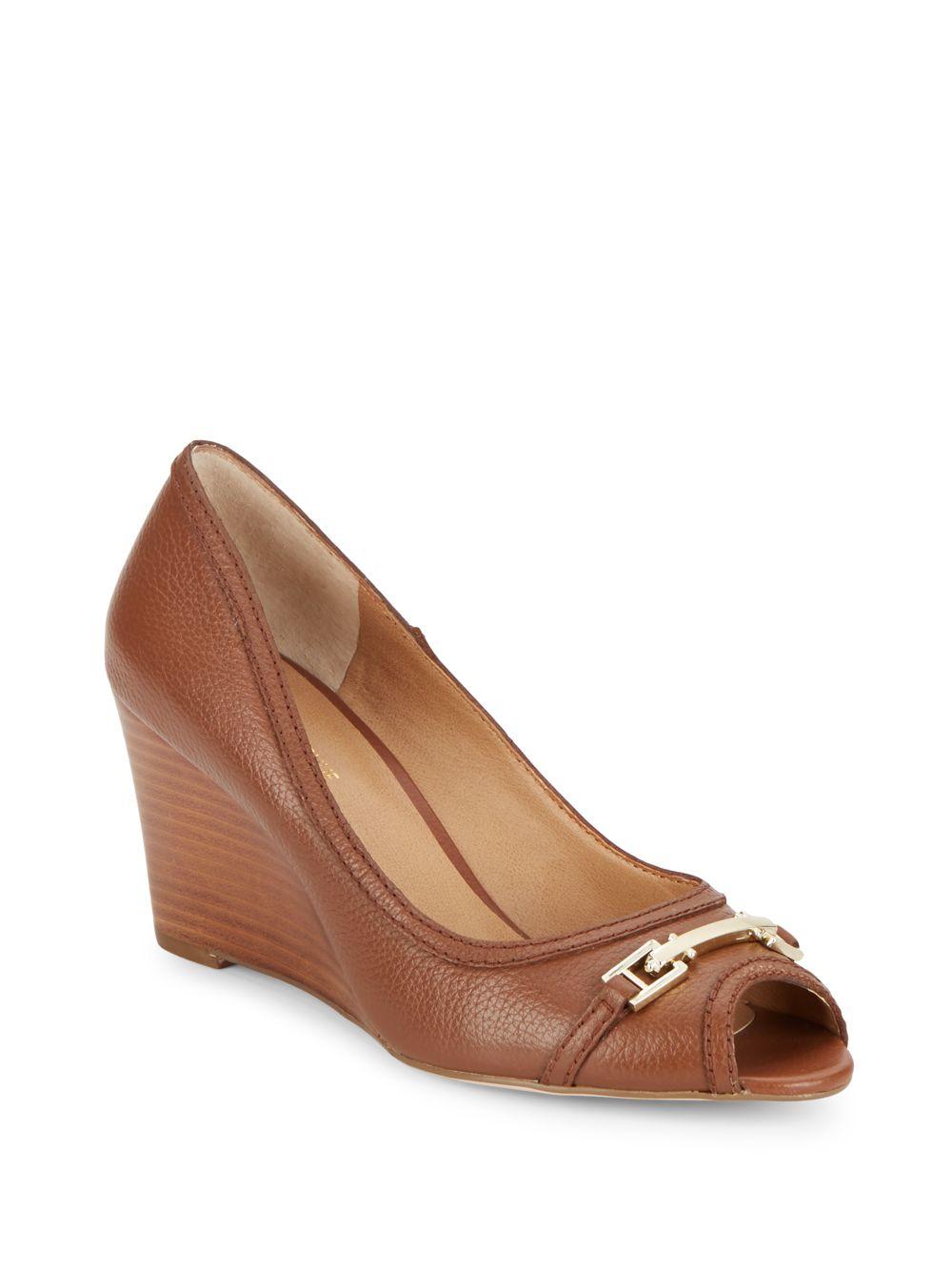 saks fifth avenue leather peep toe wedges in brown lyst