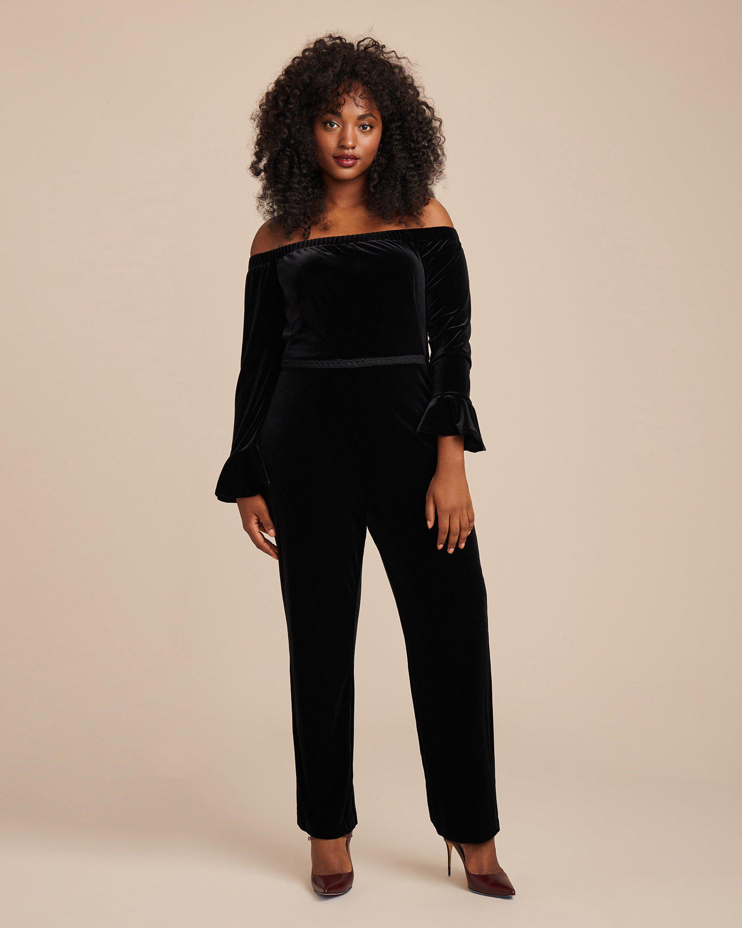 Lyst Ml Monique Lhuillier Stretch Velvet Off Shoulder Jumpsuit In