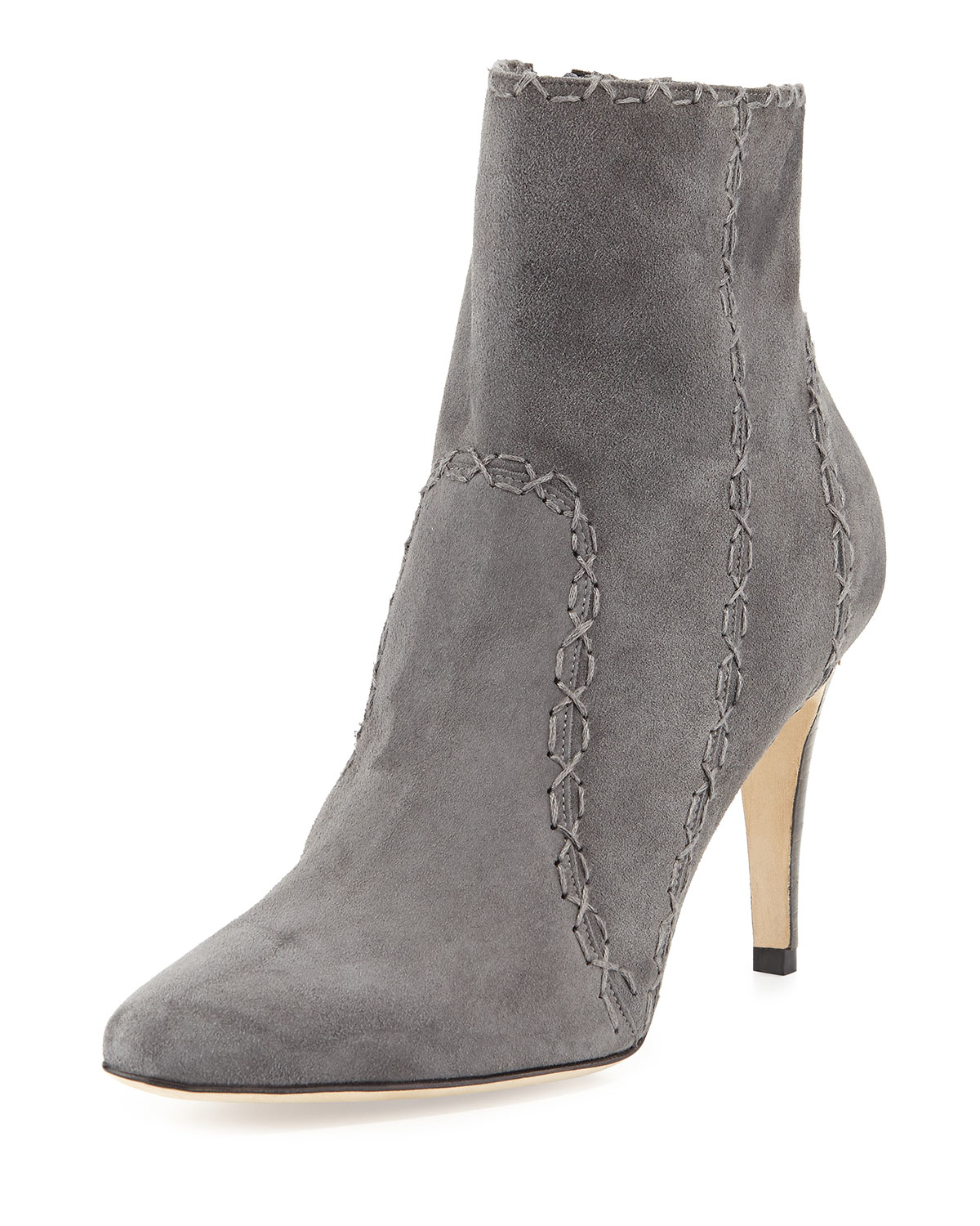 Manolo blahnik Rubio Cross-Stitched Suede Ankle Boots in ...