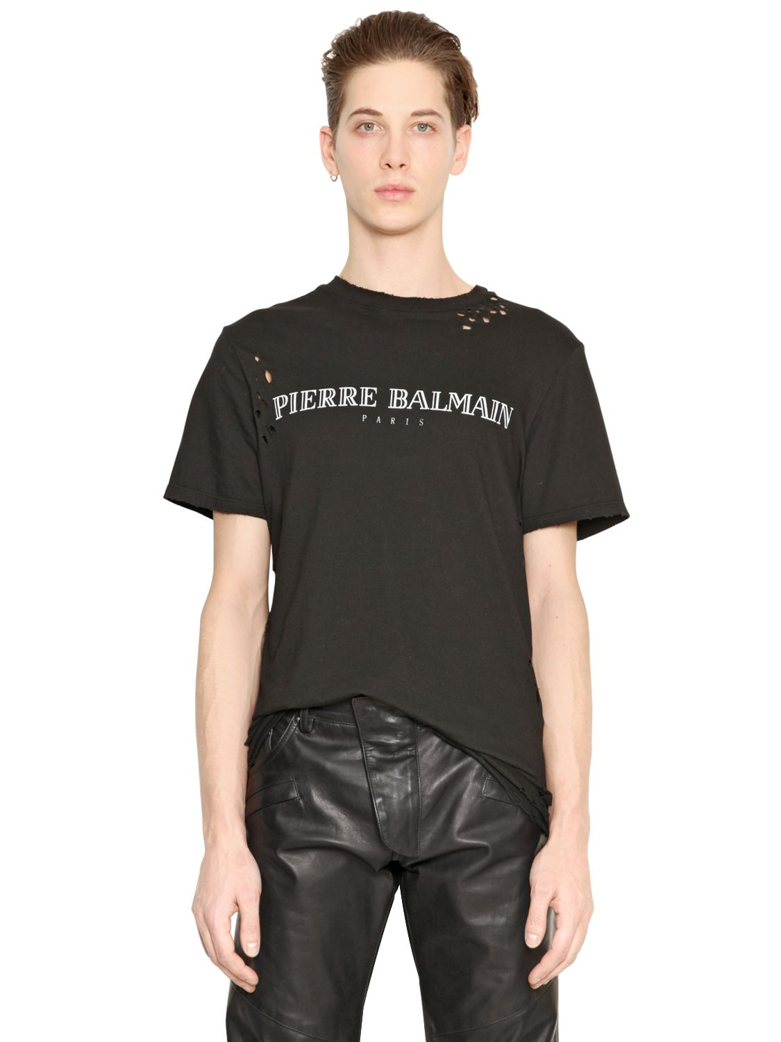 a3ddf3f7cc5b Lyst - Balmain Logo Printed Cotton Jersey T-Shirt in Black for Men