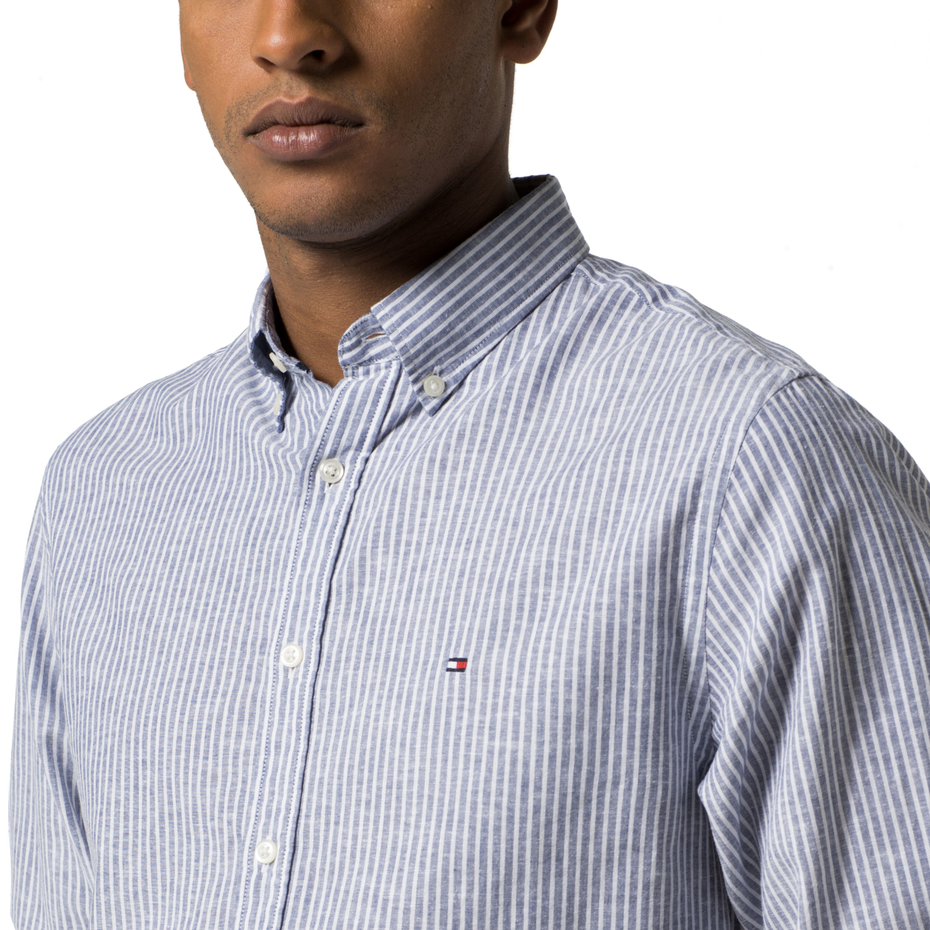 Lyst tommy hilfiger cotton linen stripe shirt in white for Tommy hilfiger fitzgerald striped shirt
