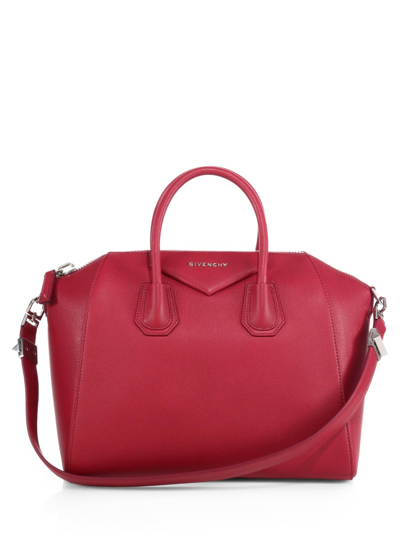 85114fae8a64 ... Lyst - Givenchy Antigona Medium Leather Satchel in Red premium  selection 8d285 9f3bc ...
