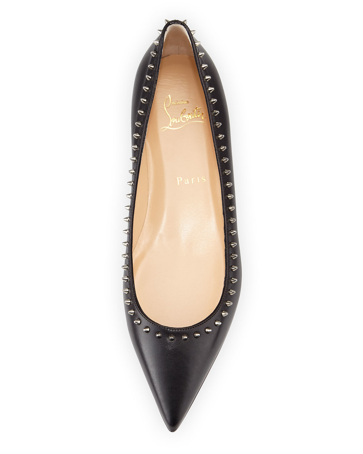classic fit 5c095 59ae0 Christian Louboutin Black Anjalina Studded Leather Ballet Flats