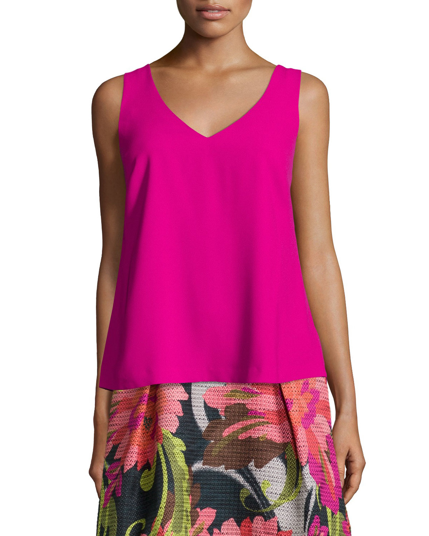 Trina Turk Sleeveless V-Neck Crepe Blouse In Pink (MOD