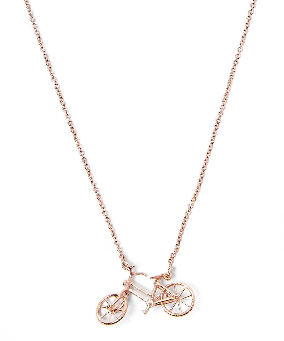 Alex monroe Rose Gold-plated Bicycle Necklace in Pink
