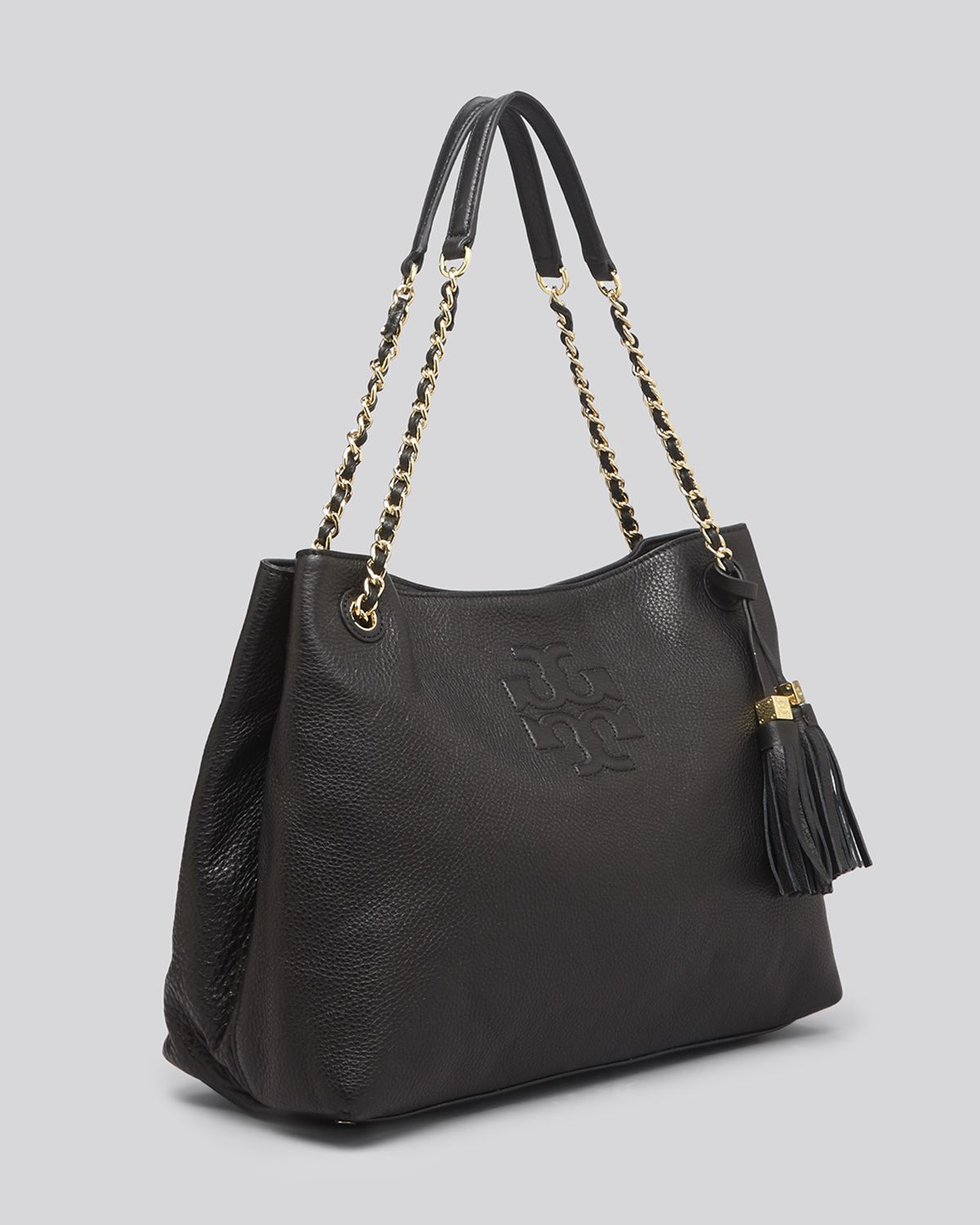 53cb2308f50 Tory Burch Tote Thea Chain Shoulder Slouchy in Black - Lyst