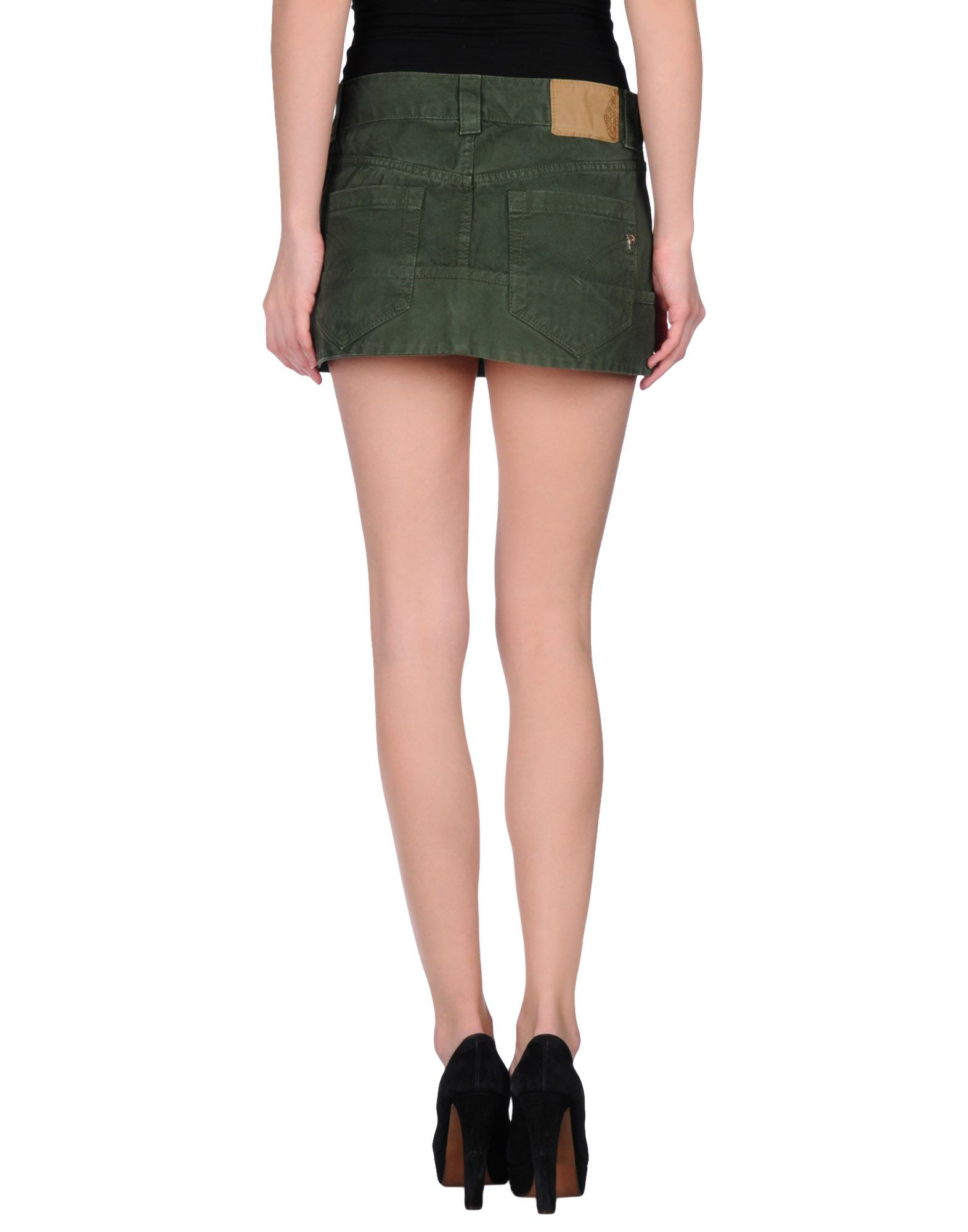 dondup denim skirt in green green lyst