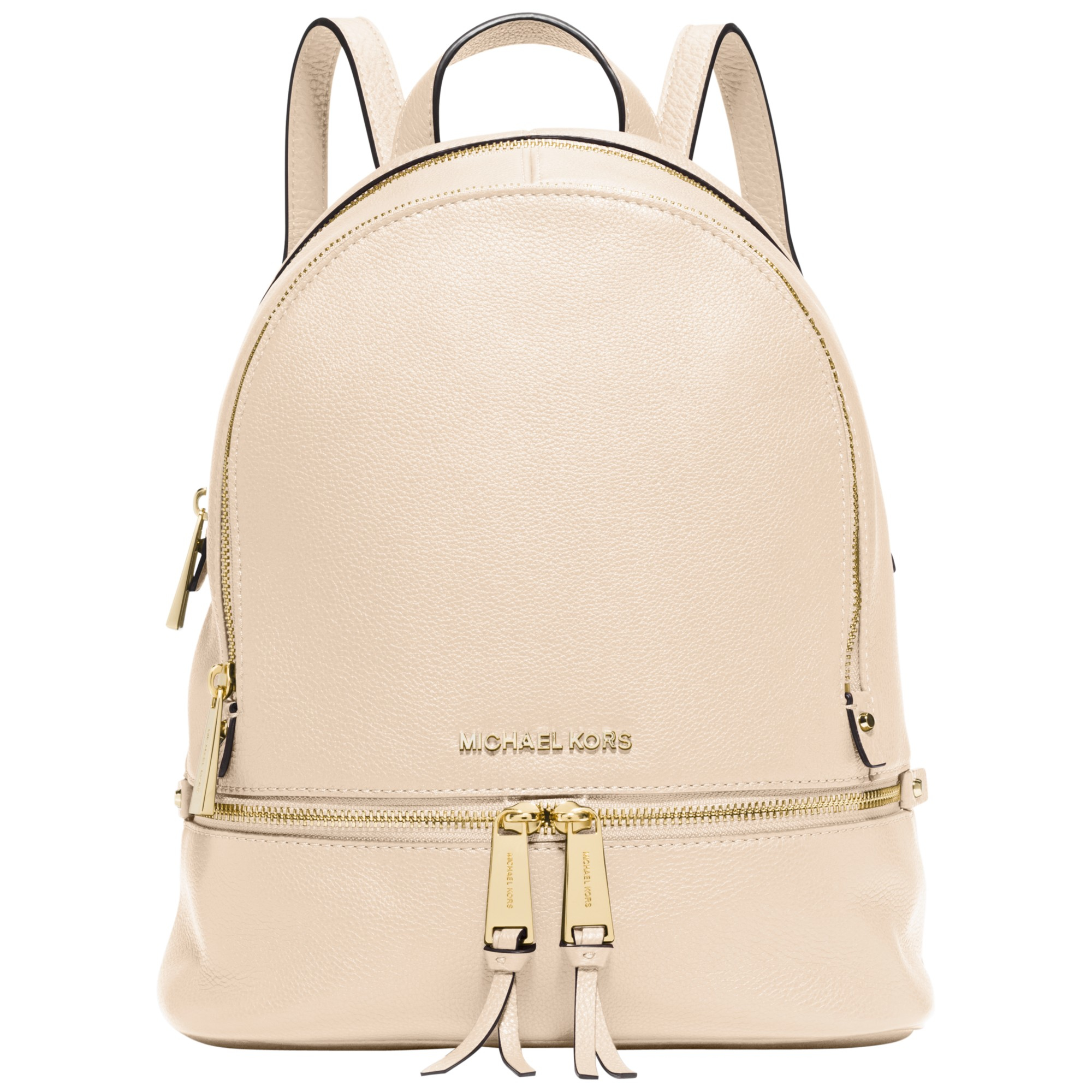 36934c8471bc ... bag 84232 7a377 sweden michael michael kors rea zip small leather  backpack in natural lyst ffae7 75a63 ...