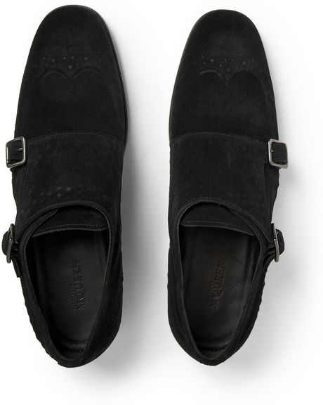 mcqueen studded suede monk shoes in black