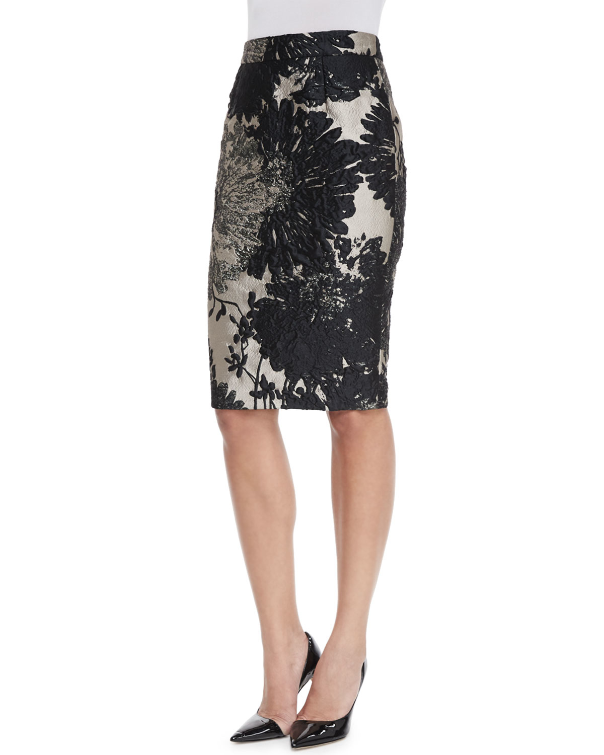 Escada High-Waist Pencil Skirt in Metallic | Lyst