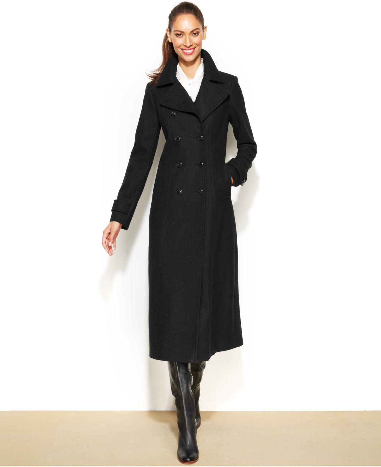 Dkny Petite Double-Breasted Wool-Blend Maxi Coat in Black | Lyst