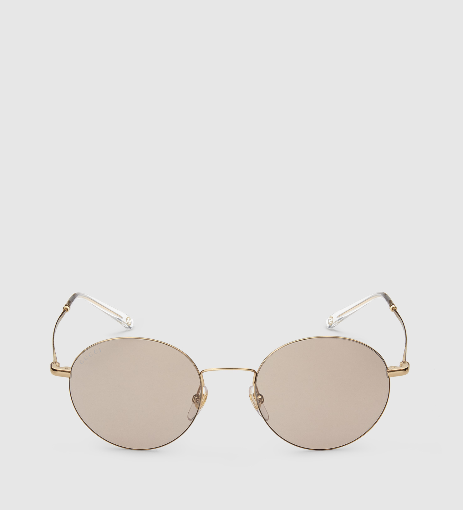 Gucci Steel And Metal Round Frame Sunglasses In Gray Lyst