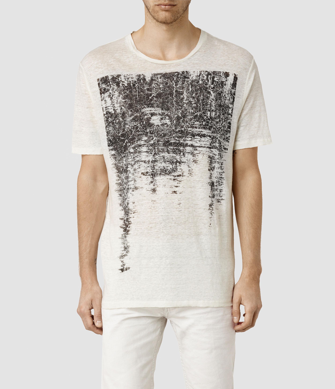AllSaints Mens Tonic Panel Crew Neck Designer Slim Fit Cotton All Saints T shirt