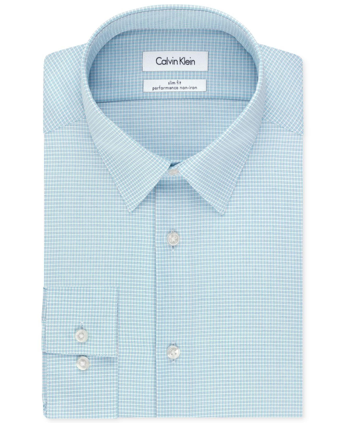 Calvin klein steel non iron slim fit blue multi check for Calvin klein athletic fit dress shirt